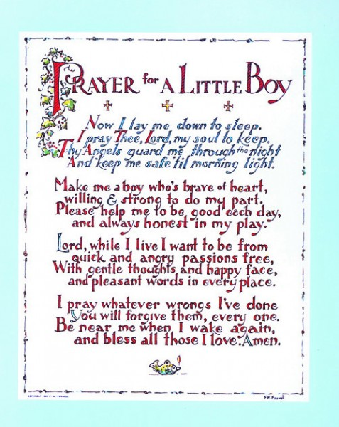 Prayer for a Little Boy Print - Sold in 3 per pack - Multi-Color