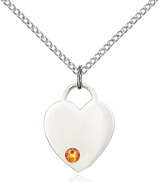 Small Heart Shaped Pendant with Birthstone Options - Topaz