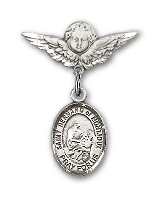 Pin Badge with St. Bernard of Montjoux Charm and Angel with Smaller Wings Badge Pin - Silver tone