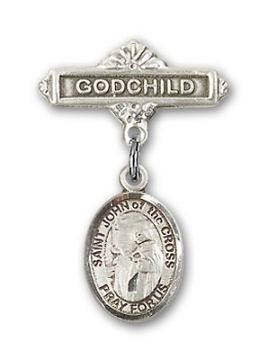 Pin Badge with St. John of the Cross Charm and Godchild Badge Pin - Silver tone