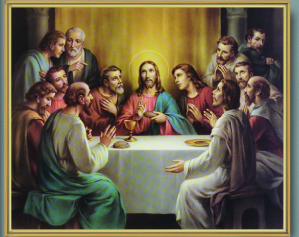 Last Supper Gold Framed Print - Full Color