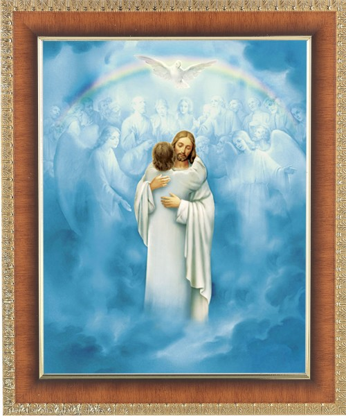 Jesus' Embrace at Heaven's Gate Framed Print - #122 Frame