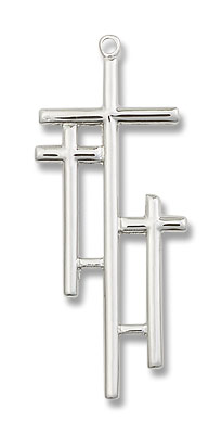 Calvary Three Cross Pendant - Sterling Silver