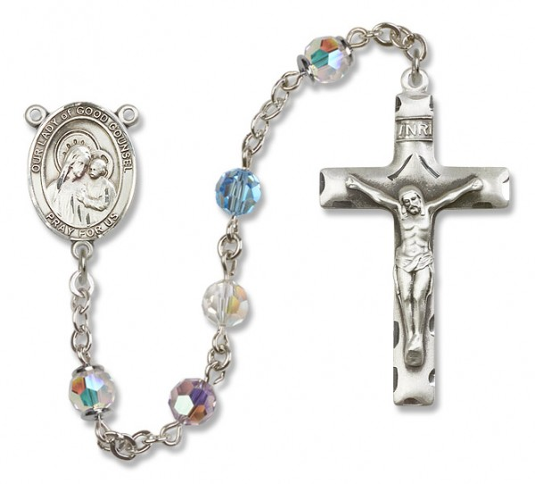 Our Lady of Good Counsel Rosary Heirloom Squared Crucifix - Multi-Color