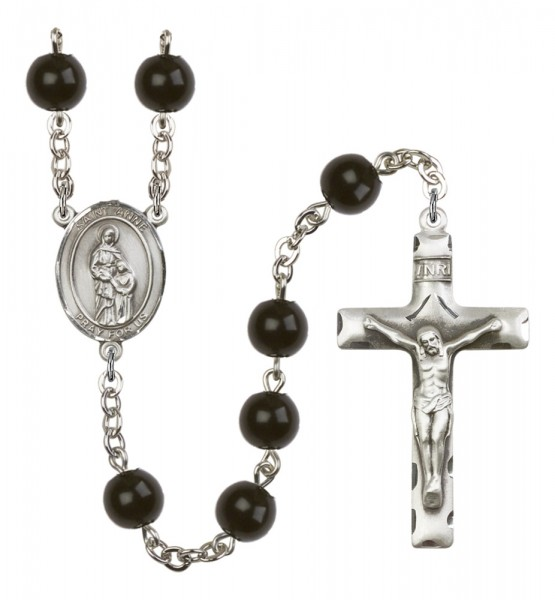 Men's St. Anne Silver Plated Rosary - Black