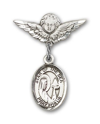Pin Badge with Our Lady Star of the Sea Charm and Angel with Smaller Wings Badge Pin - Silver tone