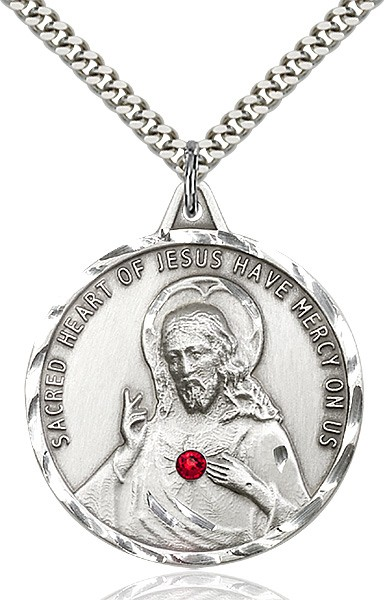 Elegant Sacred Heart of Jesus Pendant with Birthstones - Sterling Silver