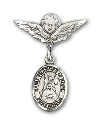 Pin Badge with St. Frances of Rome Charm and Angel with Smaller Wings Badge Pin - Silver tone
