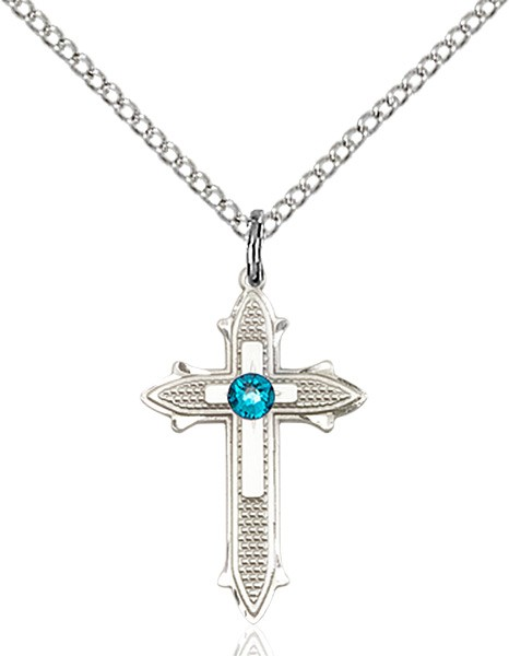 Polished and Textured Cross Pendant with Birthstone Options - Zircon
