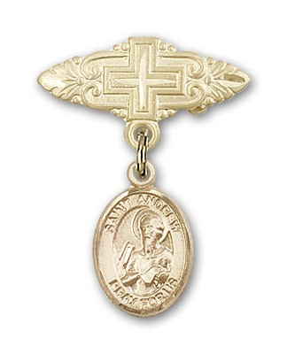 Pin Badge with St. Andrew the Apostle Charm and Badge Pin with Cross - 14K Solid Gold