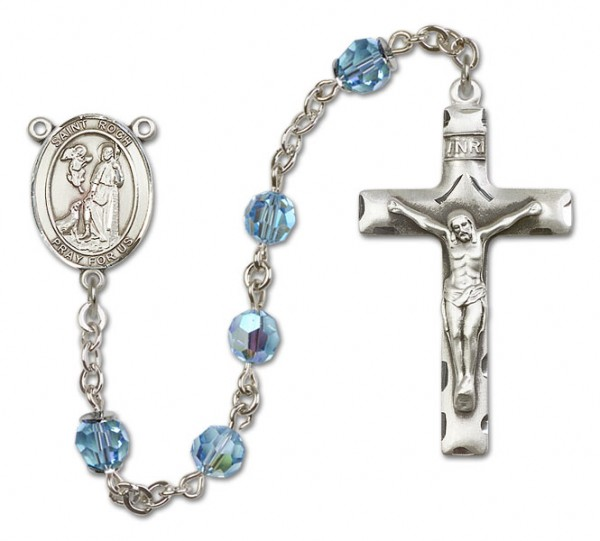 St. Roch Sterling Silver Heirloom Rosary Squared Crucifix - Aqua