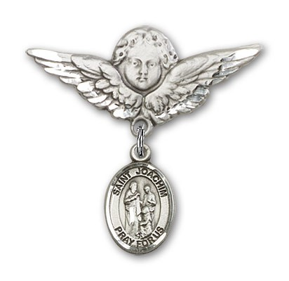Pin Badge with St. Joachim Charm and Angel with Larger Wings Badge Pin - Silver tone