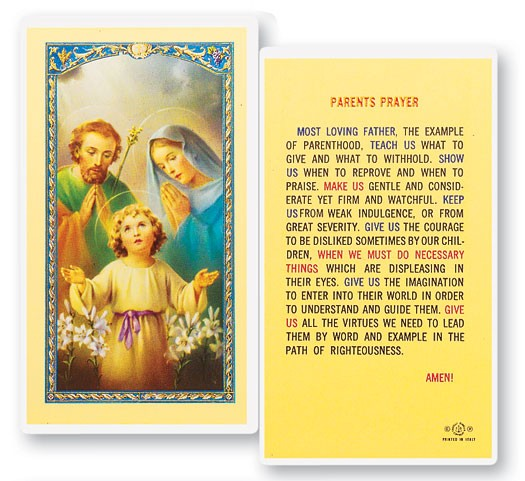 Parents Laminated Prayer Cards 25 Pack - Full Color