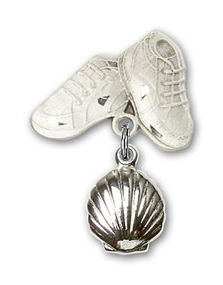 Baby Pin with Shell Charm and Baby Boots Pin - Silver tone