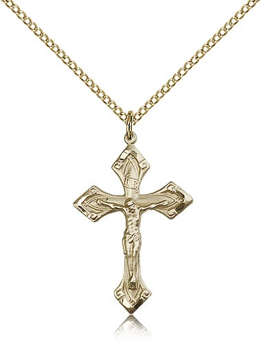 High Polished Point Tip Crucifix Necklace - 14KT Gold Filled