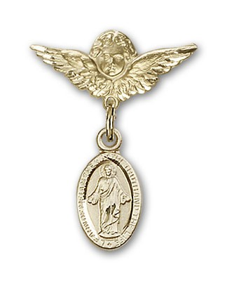 Pin Badge with Scapular Charm and Angel with Smaller Wings Badge Pin - 14K Yellow Gold