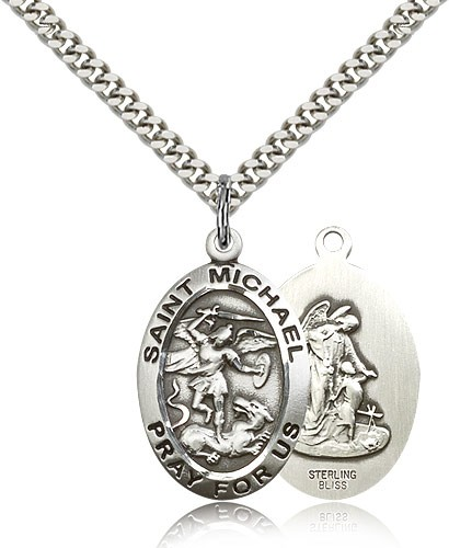 Men's Double Sided Oval St. Michael and Guardian Angel Medal - Sterling Silver