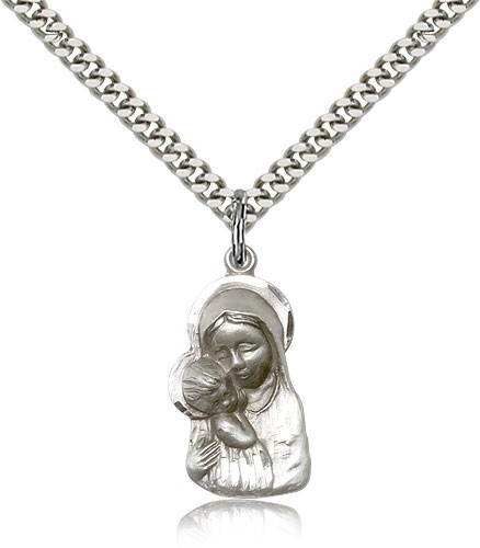 Madonna and Child Medal - Sterling Silver