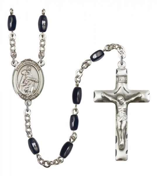 Men's St. Isabella of Portugal Silver Plated Rosary - Black | Silver