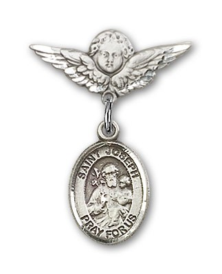 Pin Badge with St. Joseph Charm and Angel with Smaller Wings Badge Pin - Silver tone