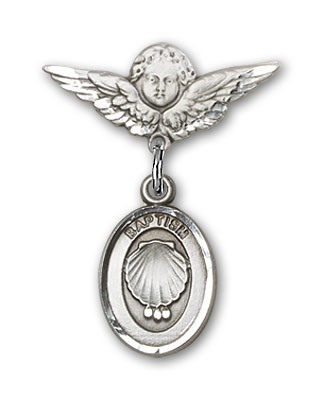 Baby Pin with Baptism Charm and Angel with Smaller Wings Badge Pin - Silver tone