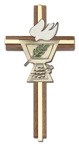 "Confirmation Chalice and Dove Wall Cross in Walnut Wood with Metal Inlay 6"" - Gold Tone"