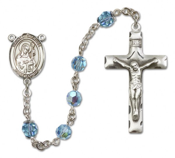 St. Gertrude of Nivelles Sterling Silver Heirloom Rosary Squared Crucifix - Aqua