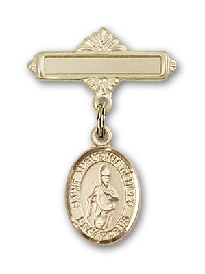 Pin Badge with St. Augustine of Hippo Charm and Polished Engravable Badge Pin - Gold Tone