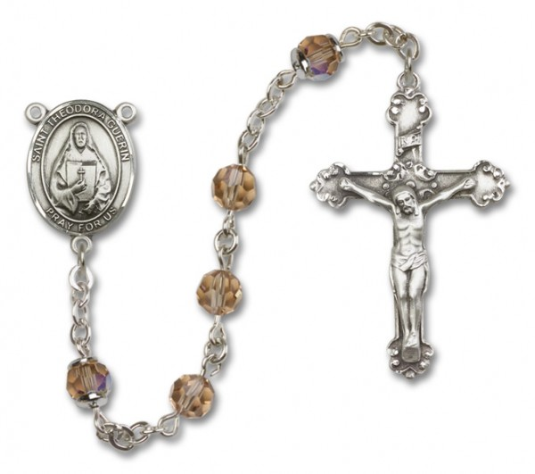 St. Theodora Guerin Sterling Silver Heirloom Rosary Fancy Crucifix - Topaz