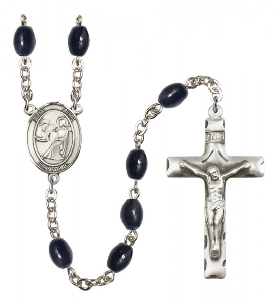 Men's St. Luke the Apostle Silver Plated Rosary - Black Oval