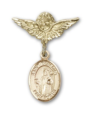 Pin Badge with St. Benedict Charm and Angel with Smaller Wings Badge Pin - 14K Solid Gold