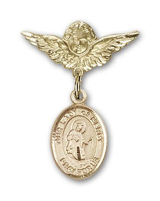 Pin Badge with Our Lady of Mercy Charm and Angel with Smaller Wings Badge Pin - 14K Yellow Gold