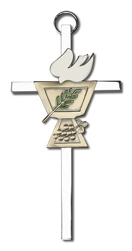 "Confirmation Chalice and Dove Wall Cross 4"" - Two-Tone Silver"