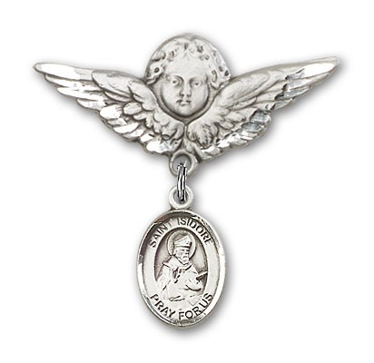 Pin Badge with St. Isidore of Seville Charm and Angel with Larger Wings Badge Pin - Silver tone