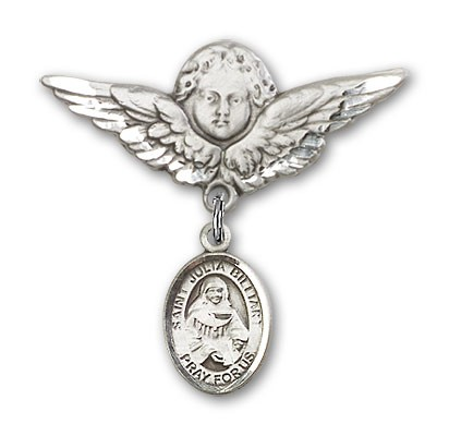 Pin Badge with St. Julia Billiart Charm and Angel with Larger Wings Badge Pin - Silver tone