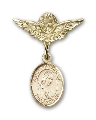 Pin Badge with St. Philomena Charm and Angel with Smaller Wings Badge Pin - 14K Solid Gold