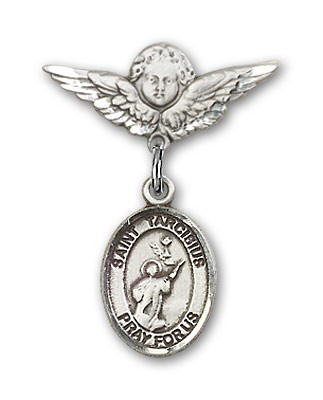 Pin Badge with St. Tarcisius Charm and Angel with Smaller Wings Badge Pin - Silver tone