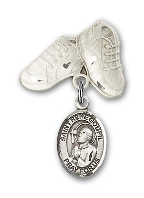 Pin Badge with St. Rene Goupil Charm and Baby Boots Pin - Silver tone