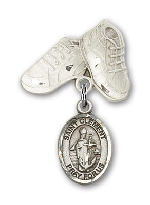 Pin Badge with St. Clement Charm and Baby Boots Pin - Silver tone