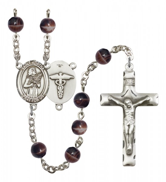 Men's St. Agatha Nurse Silver Plated Rosary - Brown