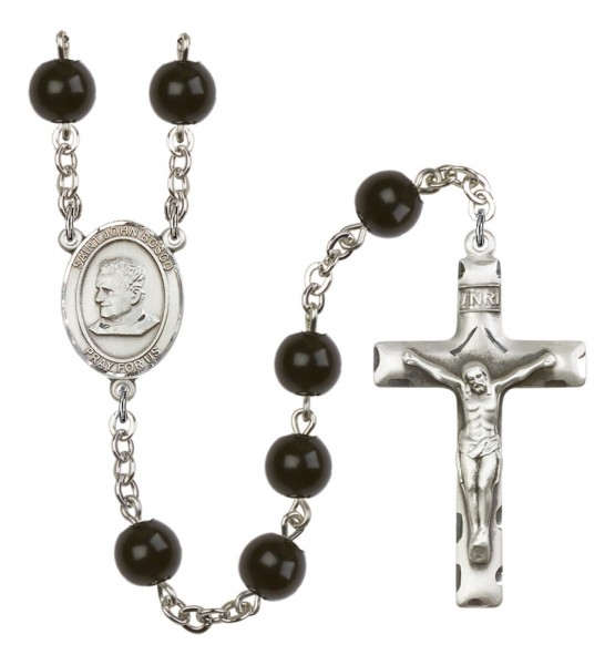 Men's St. John Bosco Silver Plated Rosary - Black