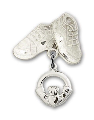 Baby Badge with Claddagh Charm and Baby Boots Pin - Silver tone