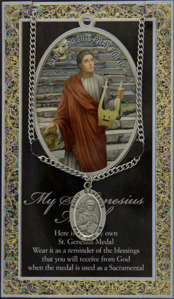 St. Genesius Medal in Pewter with Bi-Fold Prayer Card - Silver tone