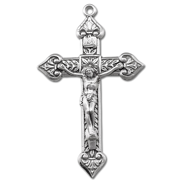 Leaf Accent Sterling Silver Rosary Crucifix - Sterling Silver