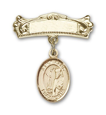Pin Badge with St. Elmo Charm and Arched Polished Engravable Badge Pin - 14K Solid Gold