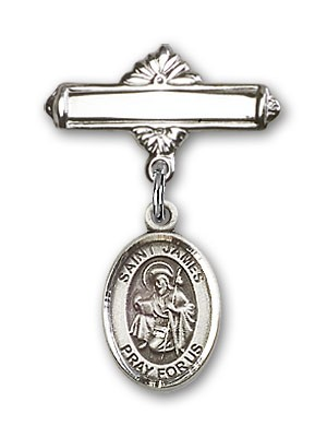 Pin Badge with St. James the Greater Charm and Polished Engravable Badge Pin - Silver tone