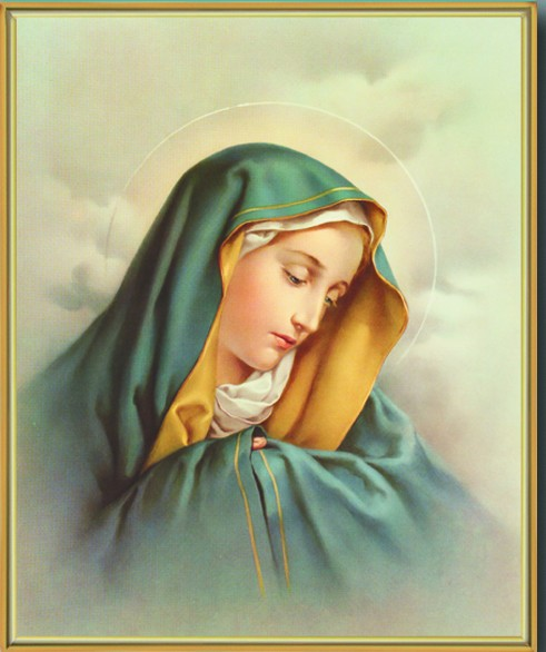 Our Lady of Sorrows Gold Framed Print - Full Color