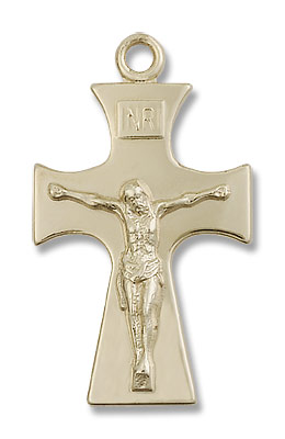 Contemporary Celtic Crucifix Pendant - 14K Solid Gold