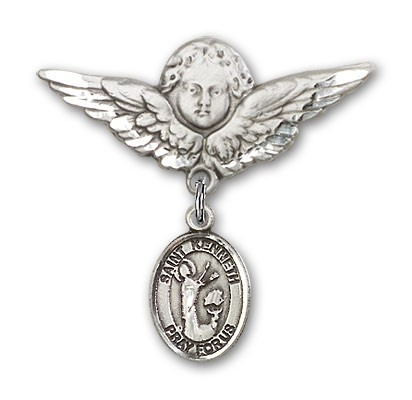 Pin Badge with St. Kenneth Charm and Angel with Larger Wings Badge Pin - Silver tone