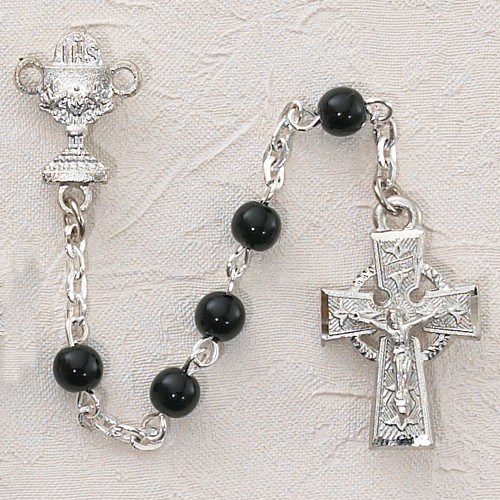 Boy's Irish First Communion Rosary in Sterling Silver - Black
